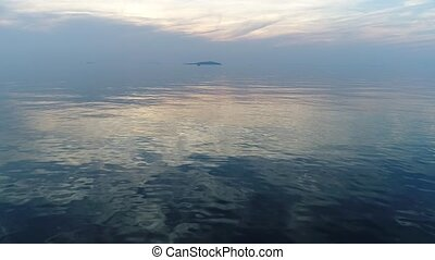 aerial drone flying sea landscape with wave - Remote...