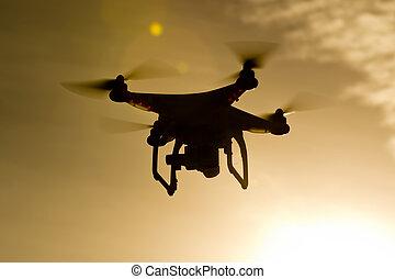 Aerial Drone Flying Through Air