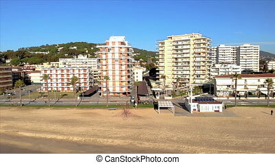 Aerial drone footage from small village Sant Antoni de Calonge from Spain, in Costa Brava