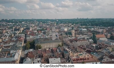 Aerial drone footage of european city Lviv, Ukraine. Flight above popular ancient part of old town