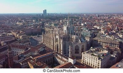 Aerial drone footage of famous statue on cathedral Duomo in...