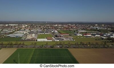 Haunstetten, a suburb of Augsburg in Germany - Aerial drone...