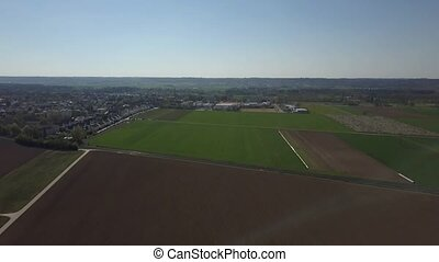 Inningen, a suburb of Augsburg in Germany - Aerial drone...