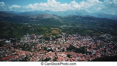 Aerial drone footage video - panoramic view of Tagliacozzo,...