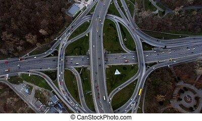 Evening road traffic in Kiev, Ukraine - Aerial drone from...