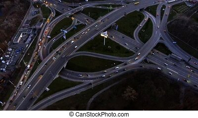 Evening road traffic in Kiev, Ukraine - Aerial drone from...