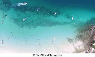 Aerial drone photo of iconic tropical turquoise water Pileh...