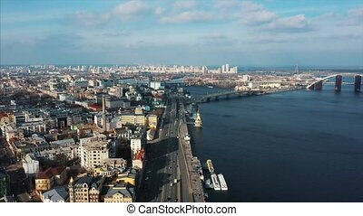Aerial drone photo.Road with traffic. Beautiful panorama...