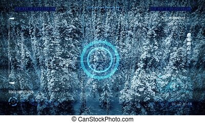 Aerial Drone POV Scans Snowy Forest - Drone scans cold...