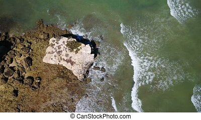 Aerial drone shooting sky beach Oura in Albufeira. Portugal