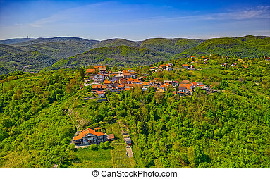 Aerial drone shot of the Outskirts of Zagreb, village Cucerje