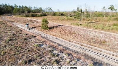 Aerial drone shot view of one enduro motorcycle drive through path or sandy trail on pine trees field during off road training in countryside. Adrenaline rush fun.
