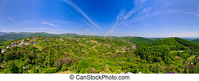 Outskirts of Zagreb - Aerial drone stiched panorama shot of ...