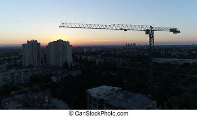 Aerial drone sunset crane