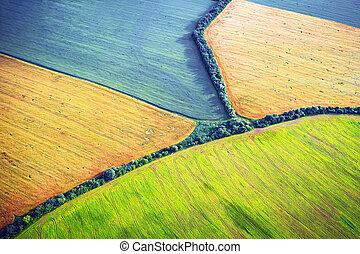 Aerial drone top view fields