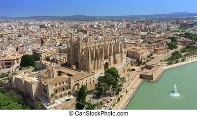 Aerial drone video footage Famous Cathedral La Seu in Palma ...