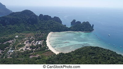 Aerial drone video of Loh Lana Bay beach, part of iconic...