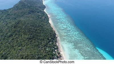 Aerial drone video of nothern east part of iconic tropical...