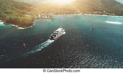 Aerial Drone View: Ferry sailing in harbor - Aerial View...