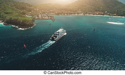 Aerial Drone View: Ferry sailing in harbor. Travel Vacation...