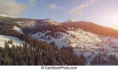 Aerial Drone View: Holidays in Ski Resort Bukovel