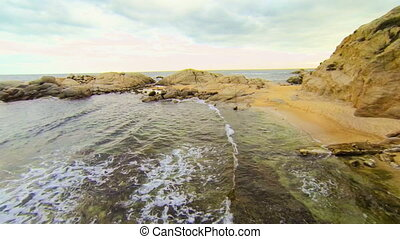 Aerial Drone View Mediterranean Unspoiled Virgin Beach