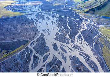 Aerial drone view of a huge riverbed, Iceland