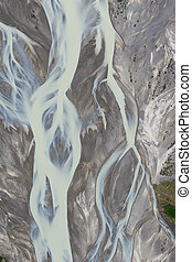Aerial drone view of a huge riverbed