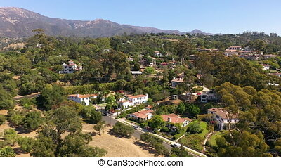 Aerial view of affluent homes in Santa Barbara, California. High quality 4k footage