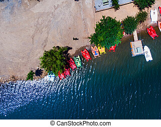 Aerial Drone View of Aydos Forest Lake with Summer Pedalo Boats in Istanbul