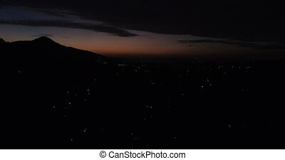 Aerial drone view of beautiful sunset in Phuket, Thailand