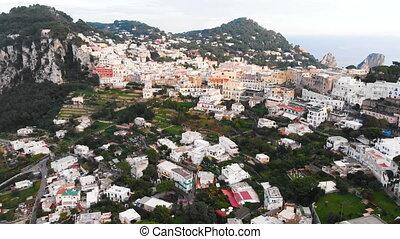 aerial drone view of Capri Island, Italy