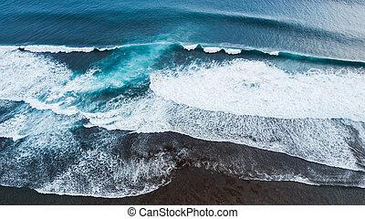 Aerial drone view of huge ocean waves
