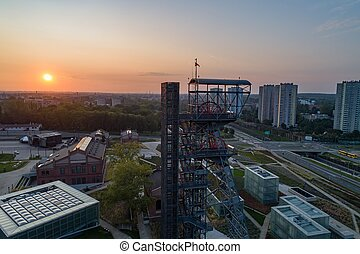 Aerial drone view of katowice at sunrise and Silesian museum building