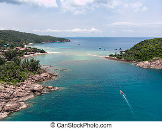 Aerial drone view of Koh Ma island and fantastic shore