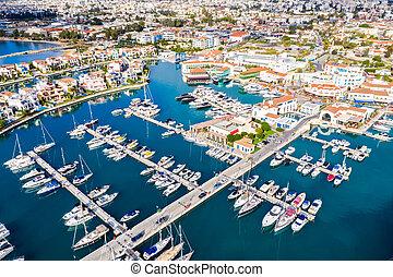 Aerial drone view of Limassol marina. Cyprus