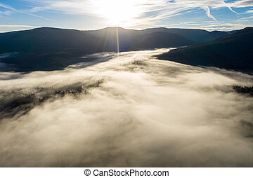 Aerial drone view of mist and clouds