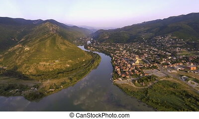 Aerial drone view of Mtskheta, Georgia with Svetitskhoveli...