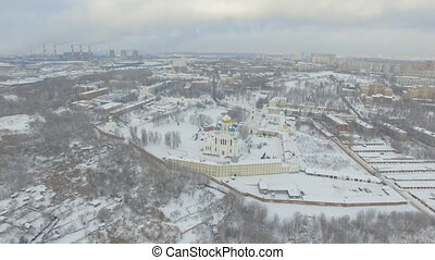 Monastery in the winter - Aerial Drone view of Nikola...