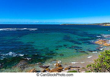 Aerial, drone view of ocean coast