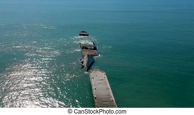 Aerial Drone View Of Old Shipwreck S.S. Palo Alto - Aerial...