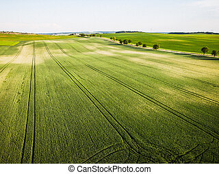 Aerial drone view of rolling hills and farmland