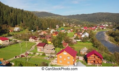 Aerial drone view of Yaremche village in Ukrainian Mountains