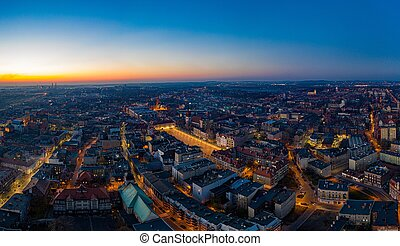 Aerial drone view on Bytom city at evening.