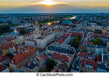Aerial drone view on Opole town hall and city center