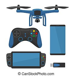 Aerial Drone with remote control. Vector flat color illustration