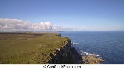 Aerial, Dunnet Head Coastline, Scotland - Native Version -...