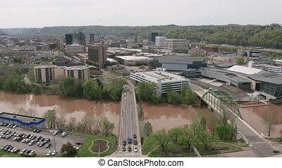 Aerial Elevating Up Over Elk River and Charleston West...