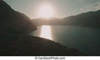 Aerial, Embalse El Yeso At Sunset, Chile - cine version -...