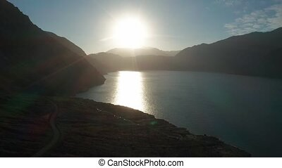 Aerial, Embalse El Yeso At Sunset, Chile - neutral version -...
